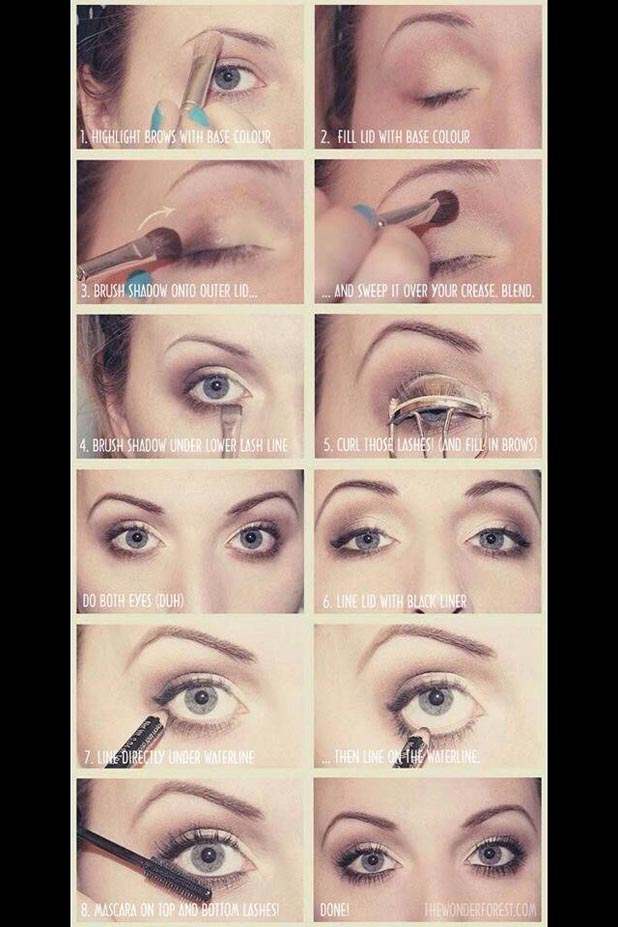 Here is a picture to show you the whole process and tools in one single photo for the eye make up in additions to some extra steps if you want more things to apply in your eyes.
