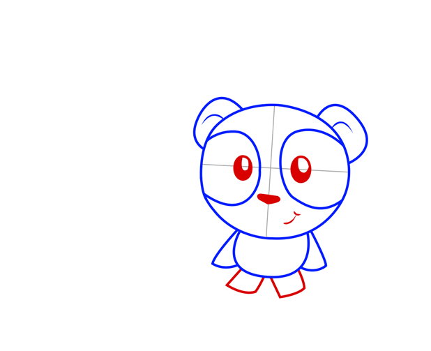 Panda eyes, nose and legs