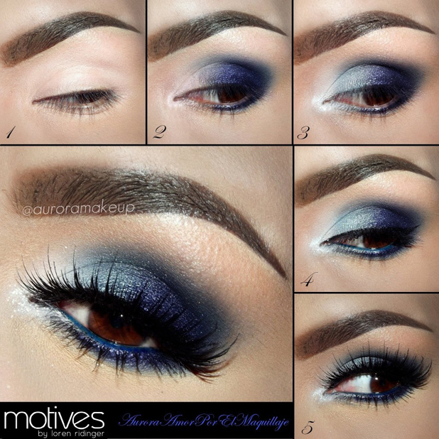 Steps of applying blue shadows on the eyes with black eyeliner and mascara