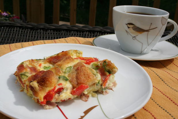 A piece of Frittata and coffee drink